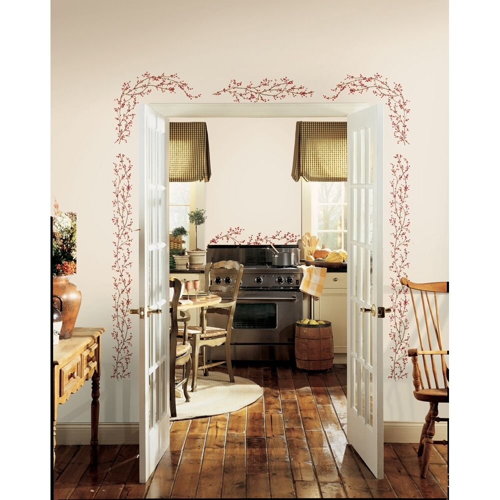 New berry vines wall decals country berries kitchen home - Cenefas para cocinas adhesivas ...