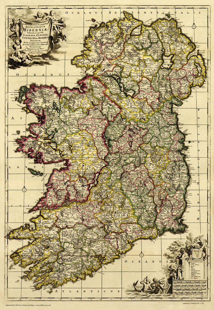 Old map of ireland in 1710 plan by f de wit repro for Plan ireland