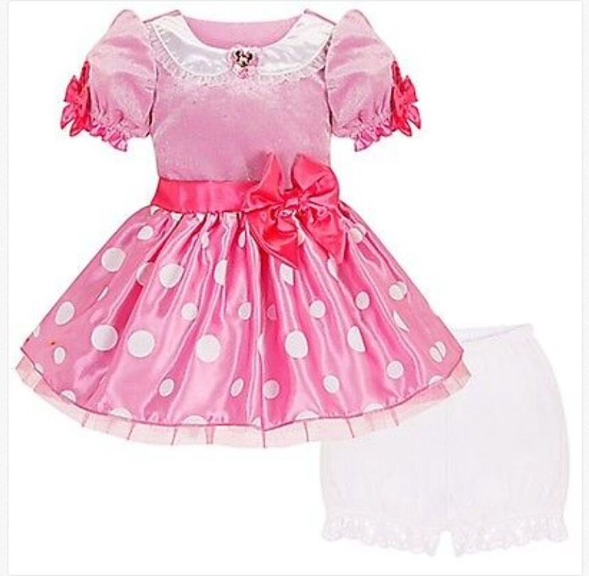 New Nwt Disney Store Pink Minnie Mouse Dress Princess