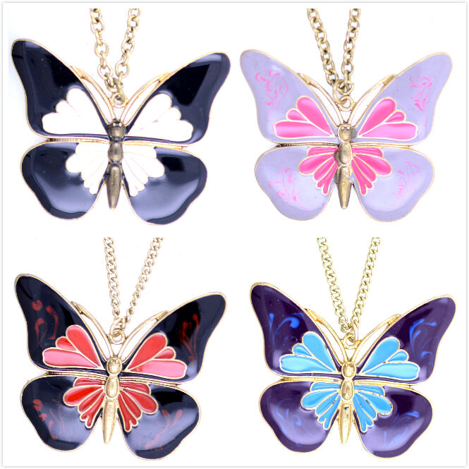 Vintage Antique Style Enamel Butterfly Necklace Multiple Choices Ebay