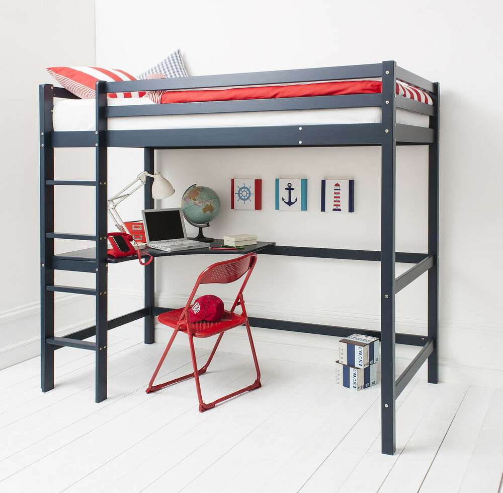 high sleeper cabin bed with desk in choice of colours