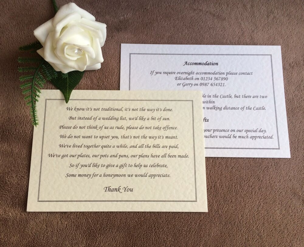 Personalised A6 insert cards- wedding info, gift poems, menus eBay
