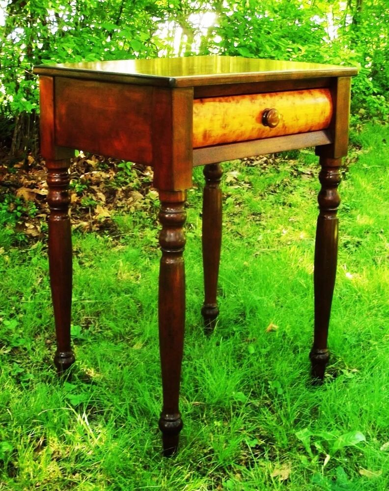 Old Bedside Table: Cherry & Birdseye Sheraton Federal Furniture Antique