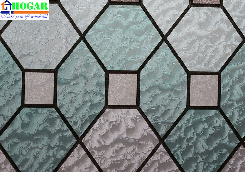 Privacy geometric decorative stained glass window film 35 for Decorative stained glass windows