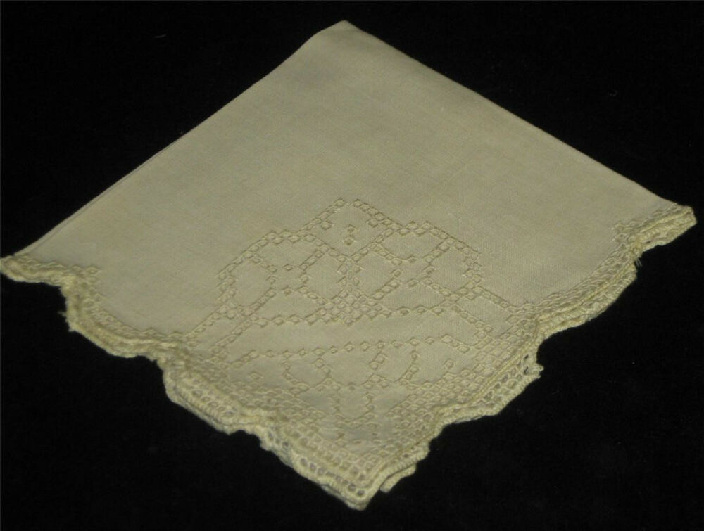 Antique French Cutwork Lace Embroidered Linen Napkins
