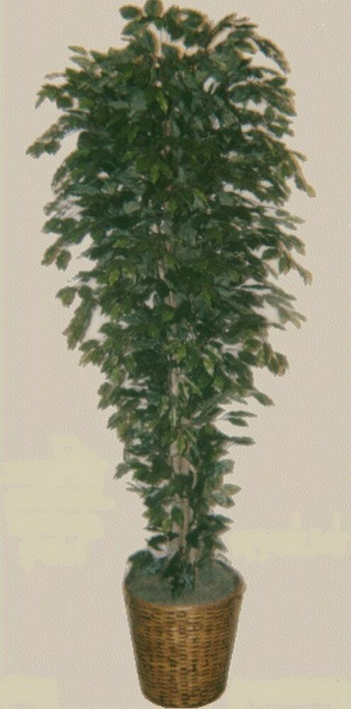 Artificial 7 Ficus Tree Plant Bush In Basket Topiary