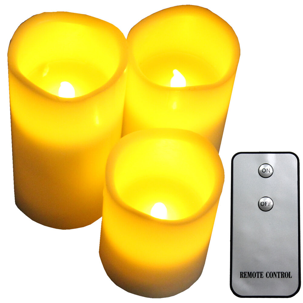 flameless battery operated led candles with remote control 3pcs box set ebay. Black Bedroom Furniture Sets. Home Design Ideas