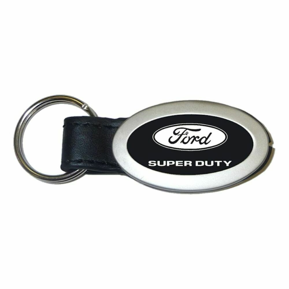 ford super duty black oval leather authentic logo key ring fob keychain lanyard ebay