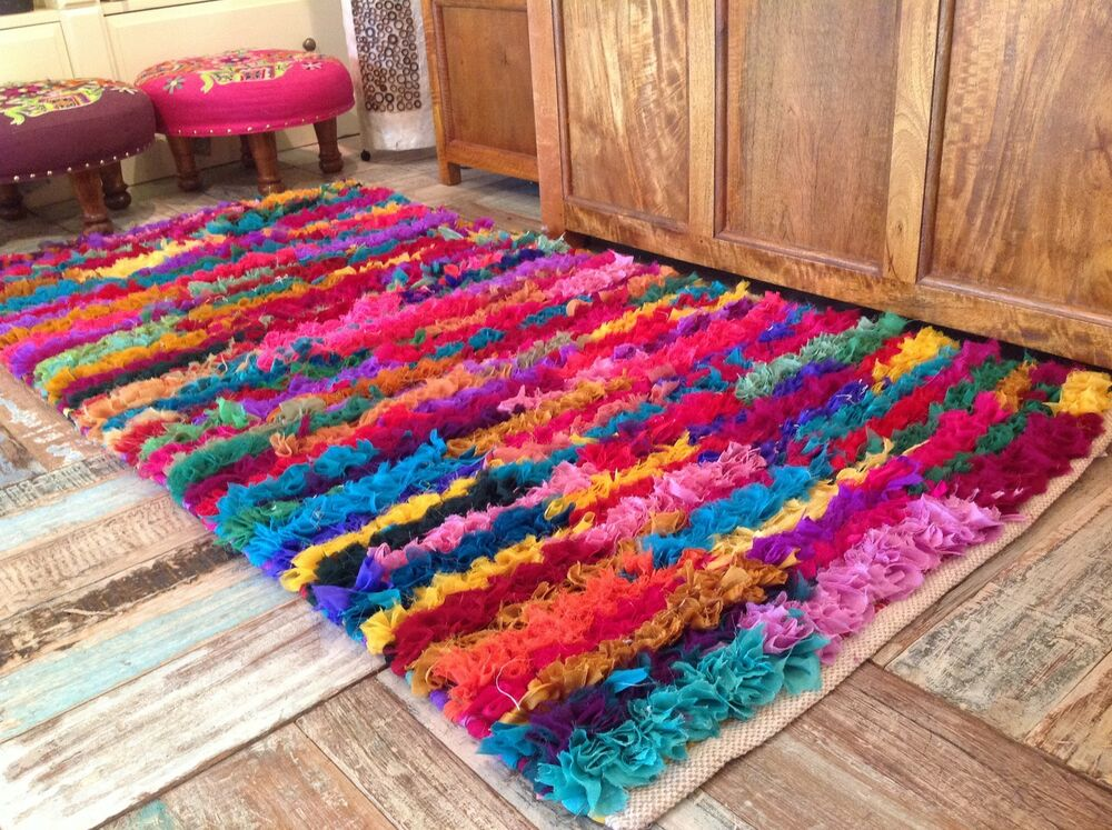 Shaggy Recycled Rag Rug Hand Loomed Indian Bright Multi