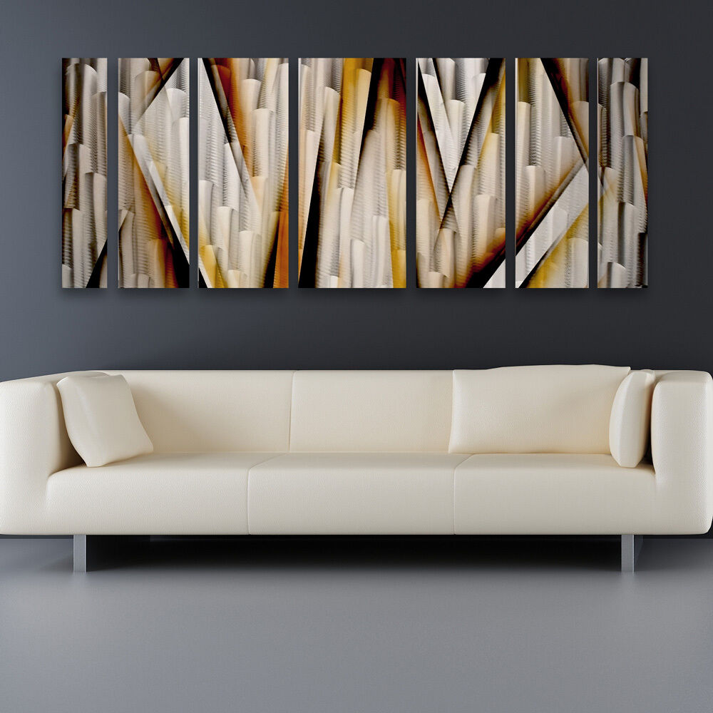 Modern contemporary abstract metal wall art sculpture brown painting home decor ebay Home decor wall art contemporary
