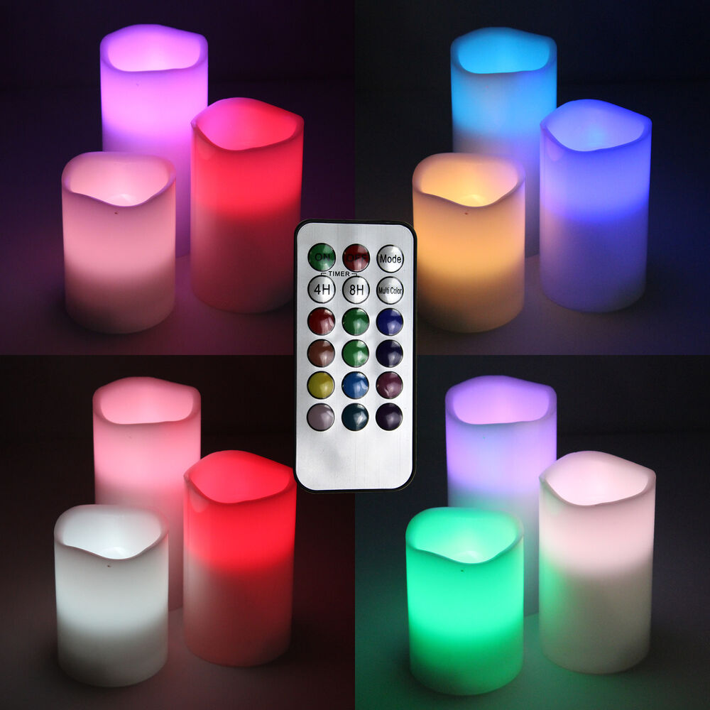 3 piece set round led flameless candles multi color with remote control ebay. Black Bedroom Furniture Sets. Home Design Ideas