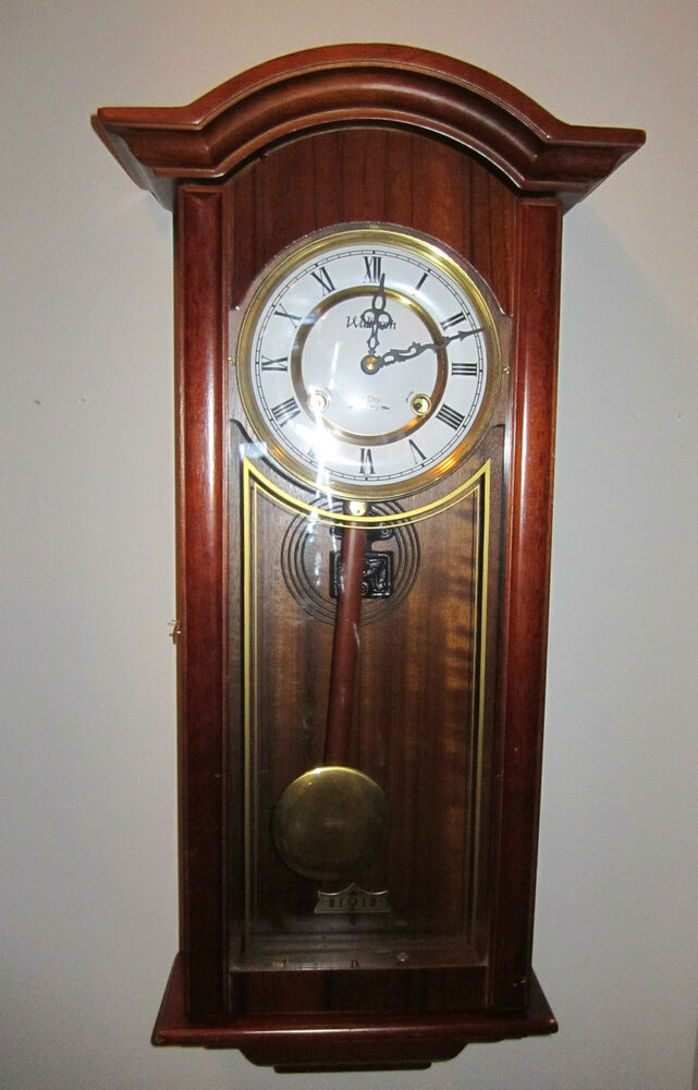 Vintage Style Waltham 31 Day Chime Regulator Wall Clock In