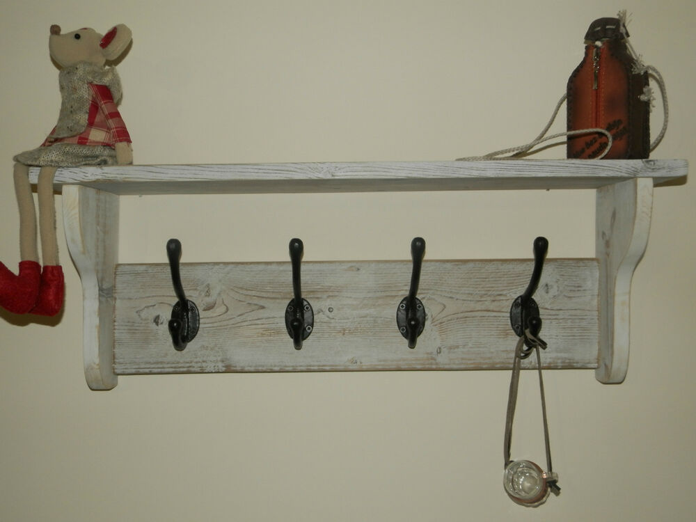 hat and coat rack with shelf shabby chic distressed rustic white wash 3 10 hooks ebay. Black Bedroom Furniture Sets. Home Design Ideas