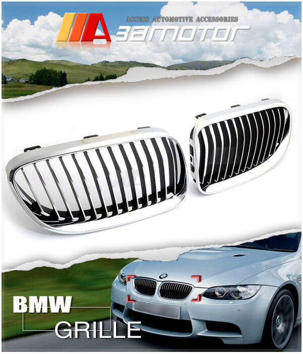 Chrome Front Kidney Grilles For 2010-2013 BMW E92 LCI 3