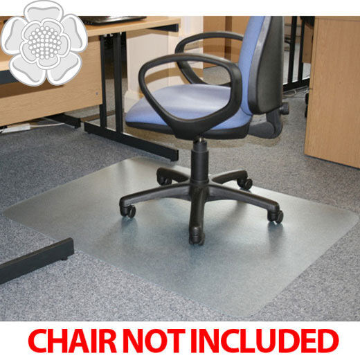 JVL Office Chair Desk Rectangular Hard Floor Protector Mat 90x120cm PVC No Gr
