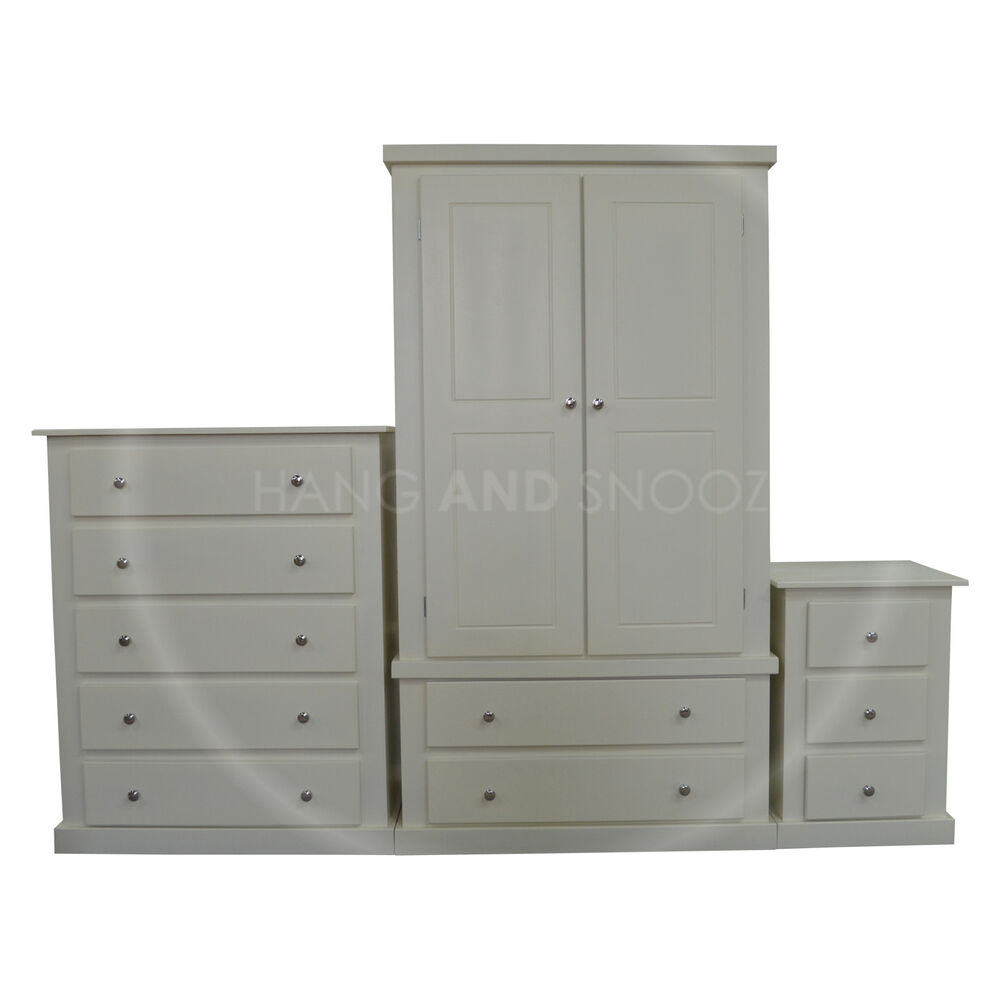 Hand made dewsbury furniture 3 piece bedroom set ivory for Furniture 3 rooms for 1999