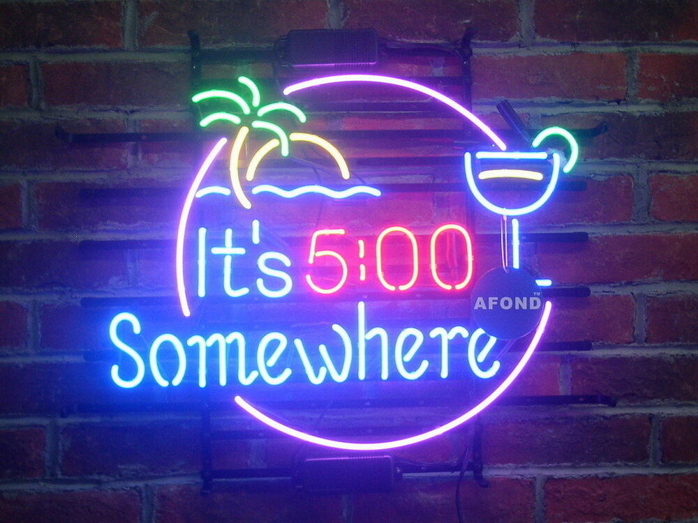 New It S 5 O Clock Somewhere Pub Home Bar Neon Sign Wall