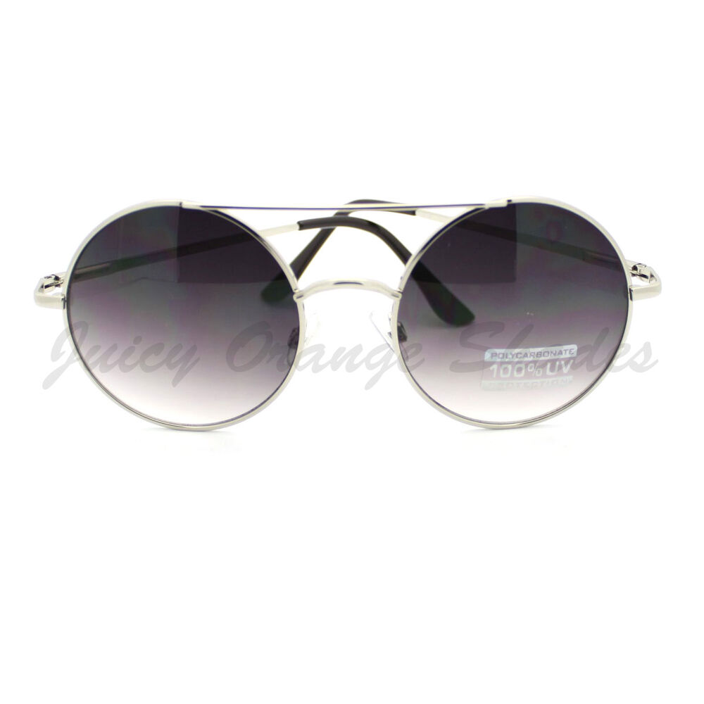 Womens Retro Fashion Sunglasses Round Double Bridge Metal