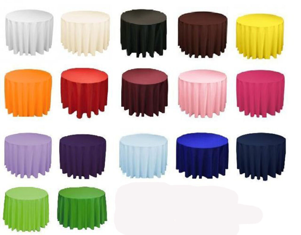 12 Round 132 Inch Tablecloths 100 Polyester 25 Colors