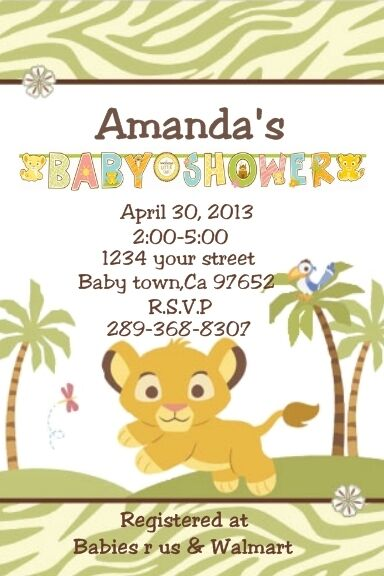 baby lion king baby simba personalized custom baby shower invitation