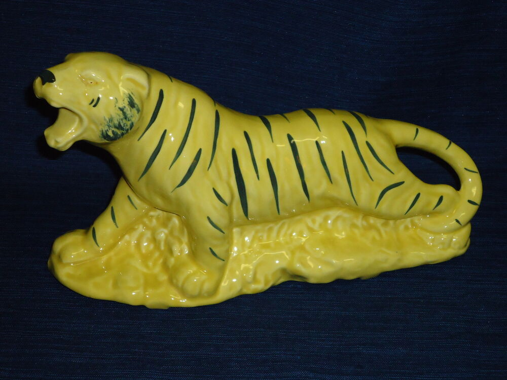 Vintage 9 5 Quot Ceramic Yellow Amp Black Tiger Figurine Planter