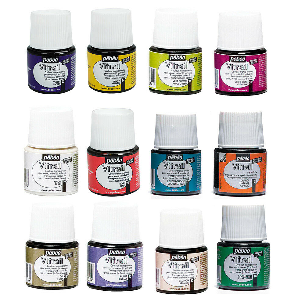Pebeo vitrail stained glass effect paint 45ml bottle all for Solvent based glass paint