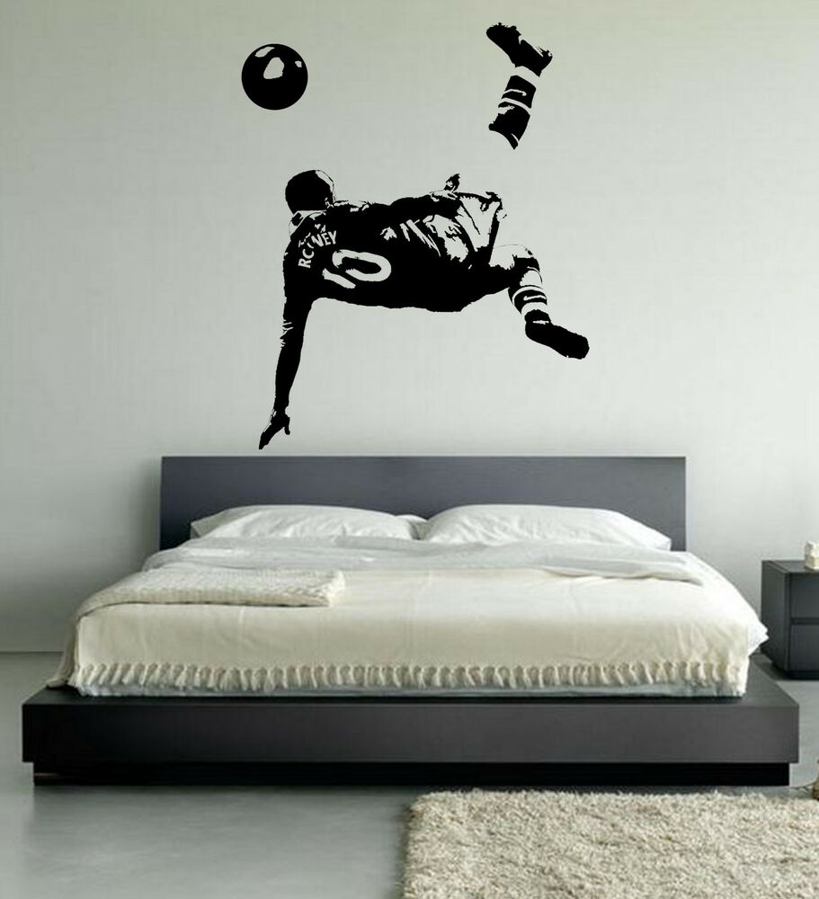 Wayne rooney football wall art stickers over head kick for Man u bedroom accessories