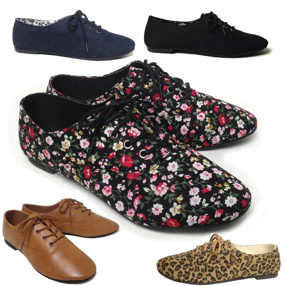 NEW Womens Lace Up Casual Canvas Flat Heel Oxford Shoes Flats Black Blue Leopard | EBay