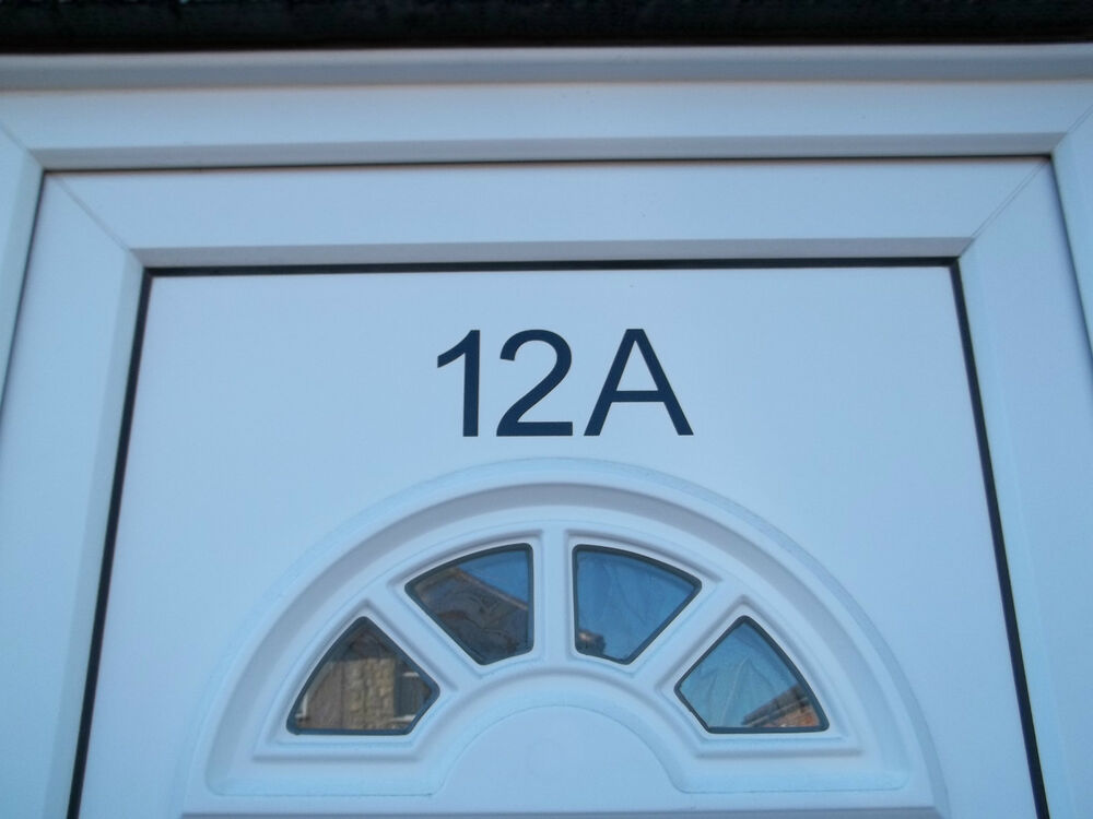 Door number stickers vinyl decal pvc window bin house for Window number