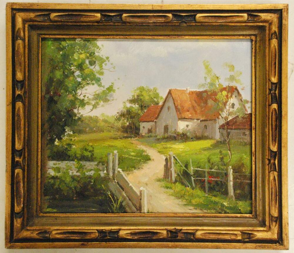 Oil painting in detailed wood frame 15 x 17 country home for Oil paintings of houses