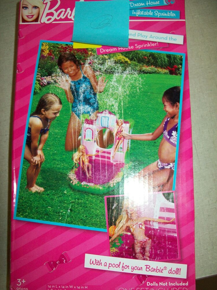 Barbie dream house inflatable sprinkler a pool for your barbie doll 14 x14 x 14 ebay for Barbie doll house with swimming pool