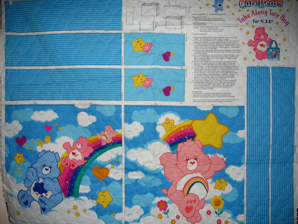 Care Bears Tote Along Bag Large Cotton Quilted Panel