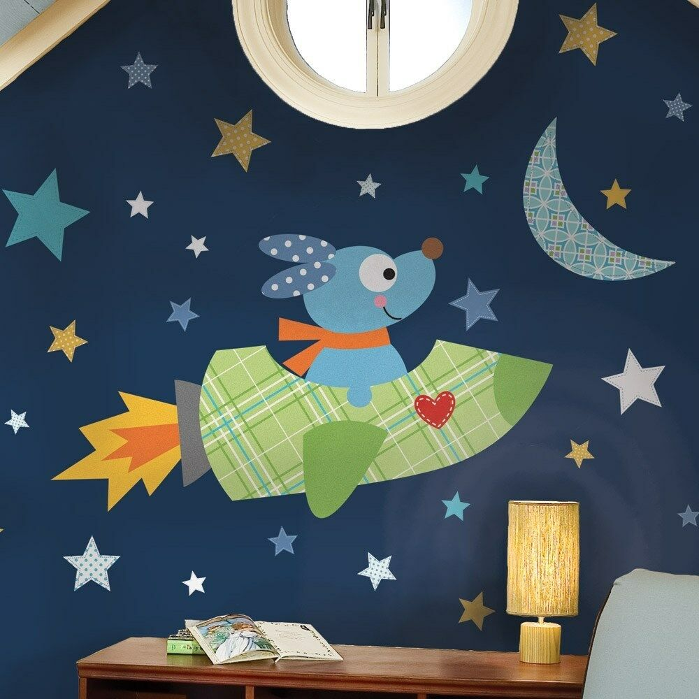 giant rocket dog wall decals puppy rocketship stickers. Black Bedroom Furniture Sets. Home Design Ideas