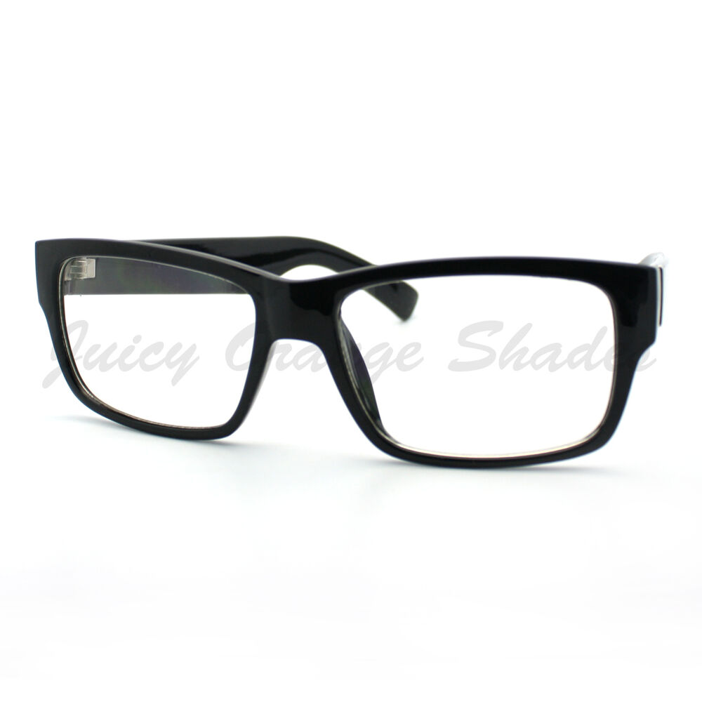 Mens Fashion Eyeglasses Classic Black Rectangular Clear