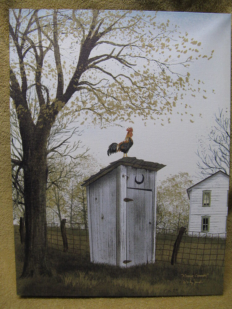 Rooster on outhouse canvas painting wall decor country for Outhouse bathroom ideas