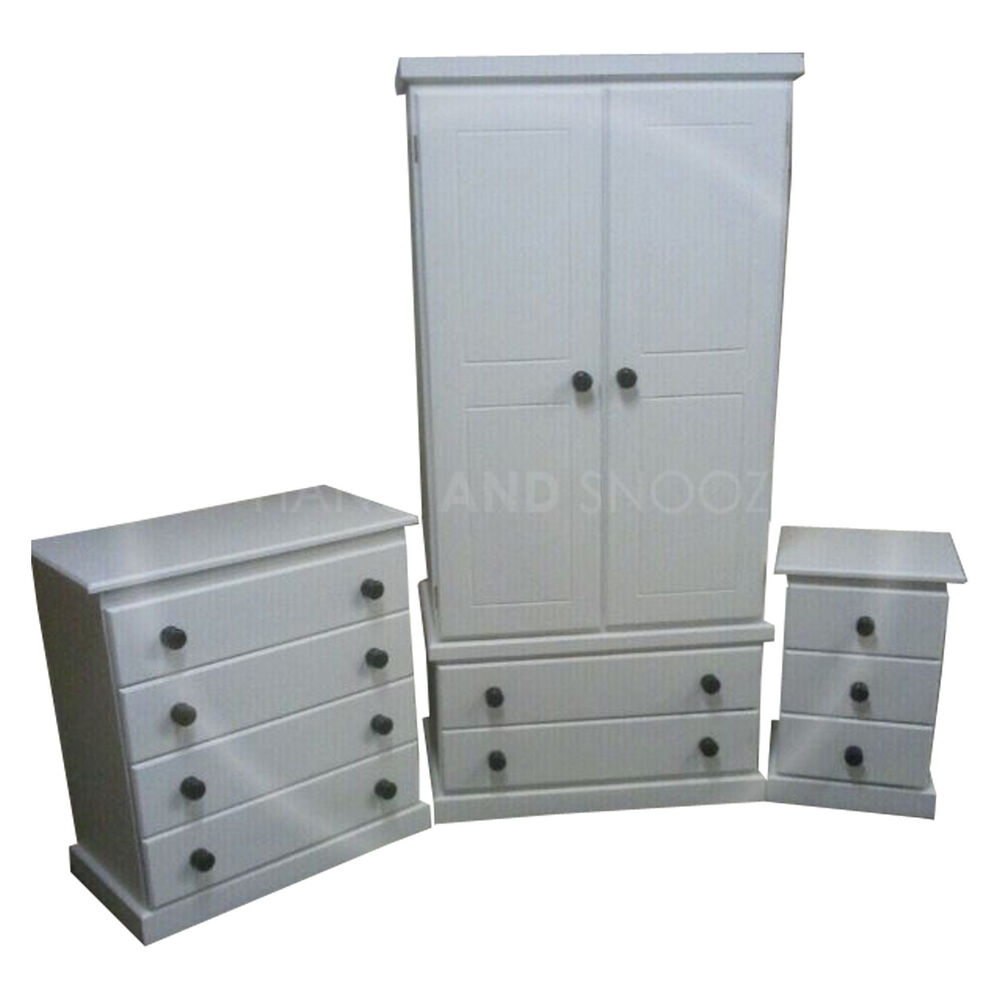 furniture cambridge 3 piece bedroom set white black assembled ebay