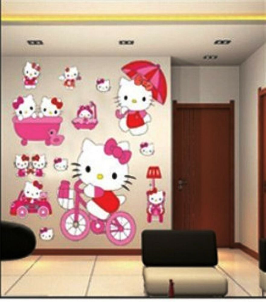 Large Hello Kitty Wall Stickers For Kids Children Bedroom