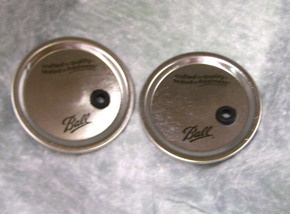 2 wide mouth ball mason jar lids modified for straw ebay. Black Bedroom Furniture Sets. Home Design Ideas