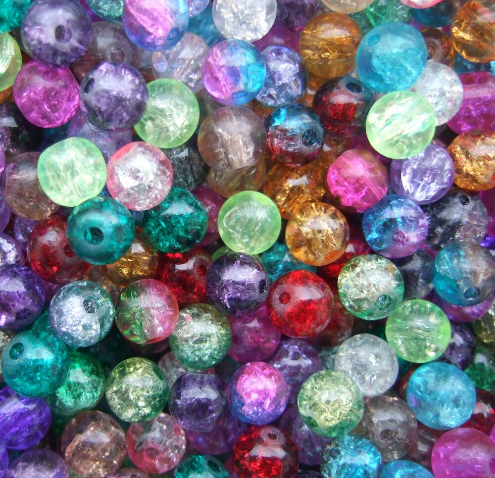 100 X Round Crackle Glass Beads 8mm Choose Colour CR1