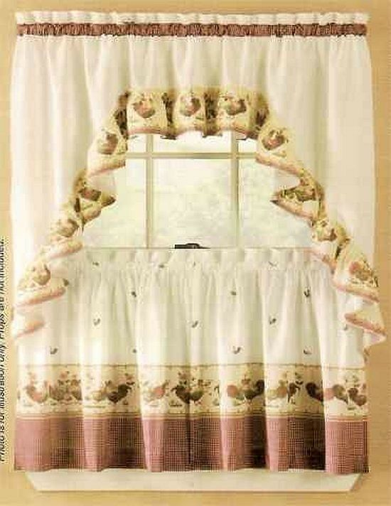 New Sets Chicken Rooster Kitchen Curtains Swag Valance