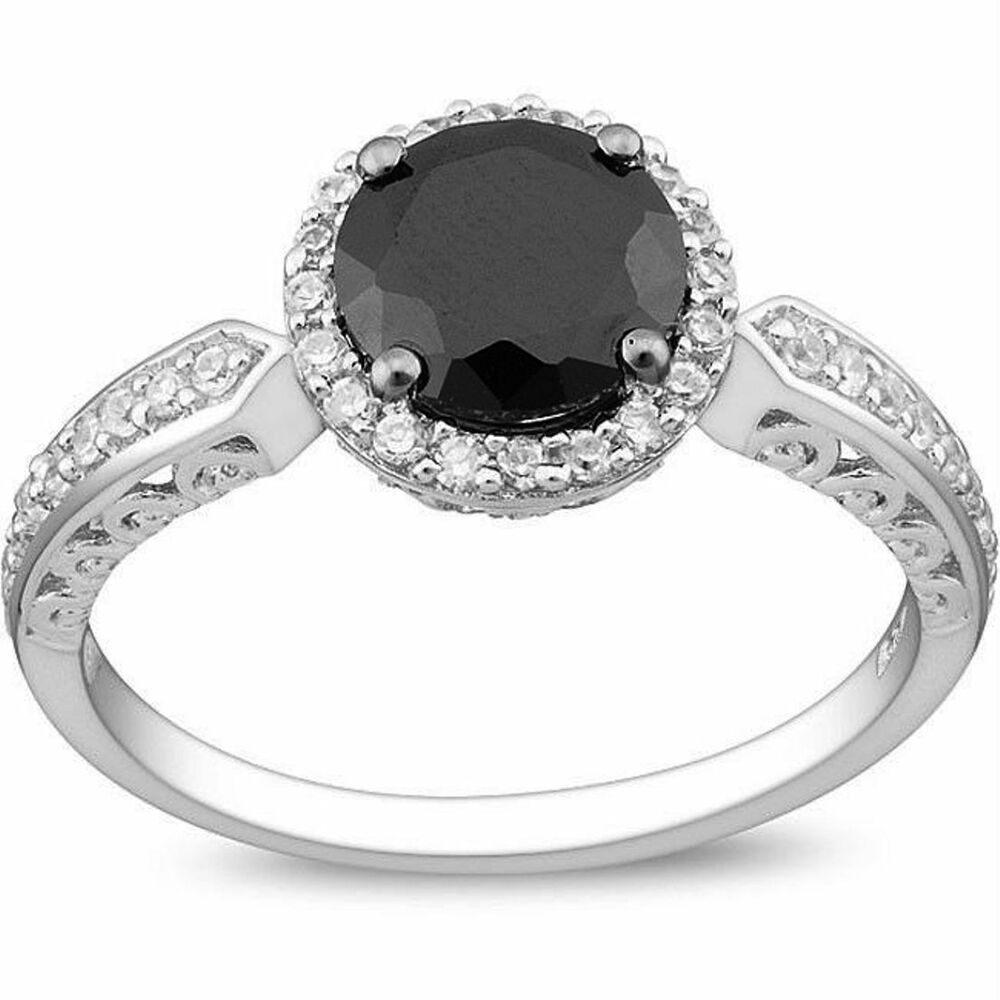 Black Diamond Alternatives Engagement Promise Ring 14k White gold over 925 SS