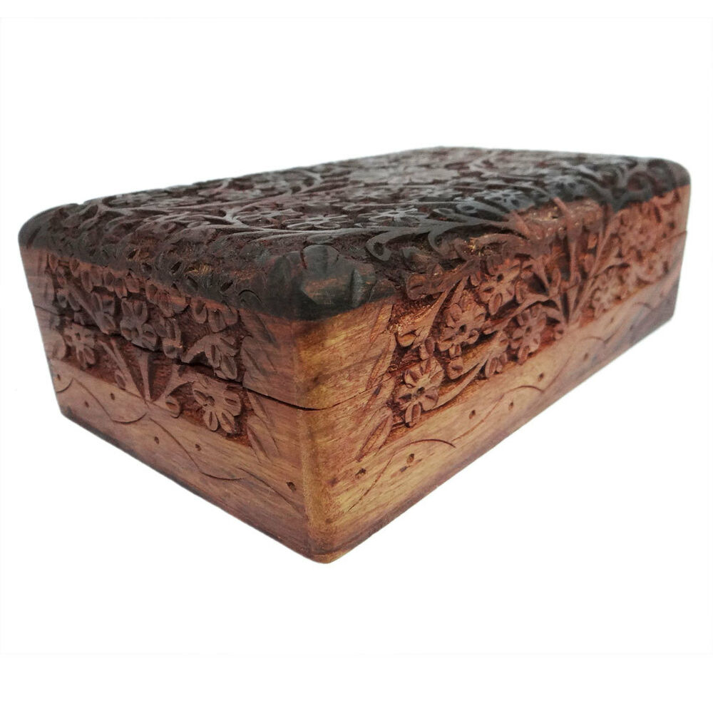 Decorative Trunk Boxes: Hand Carved Jewelry Wooden Box Decorative Vintage Style
