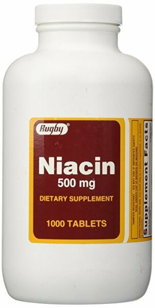 Rugby Niacin 500mg Tablets 1000ct -Expiration Date 05-2020-