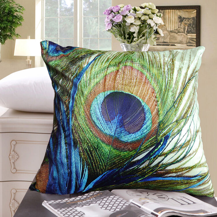 Elegant Peacock Feather Design Both Sides Throw Pillow Cushion Covers Home Car Ebay