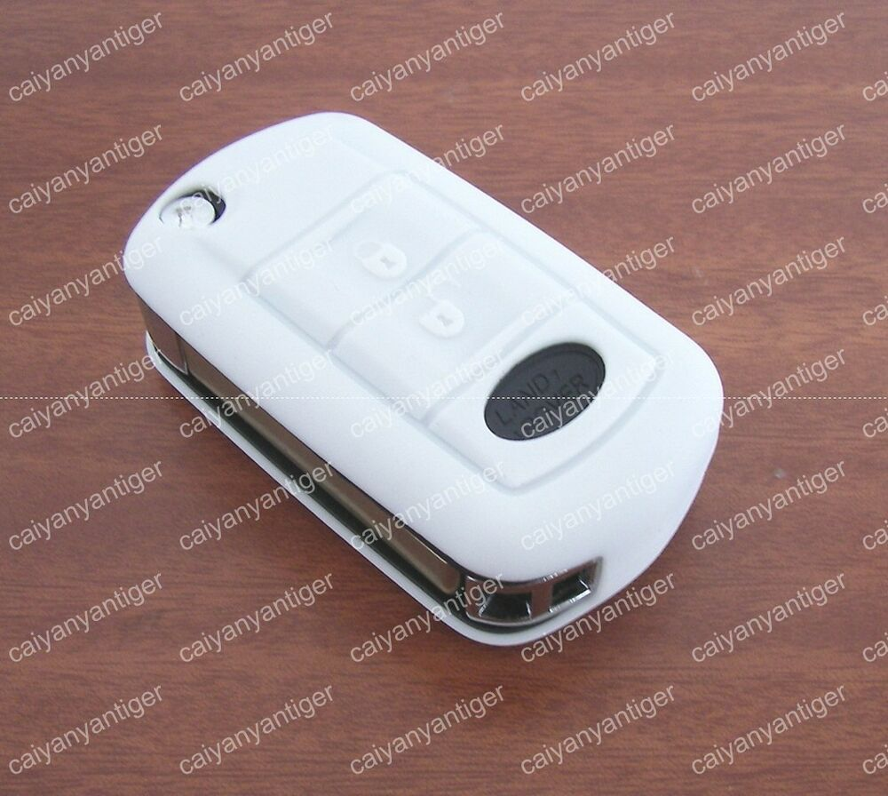 White Folding Land Rover Remote Key Case Shell Silicone