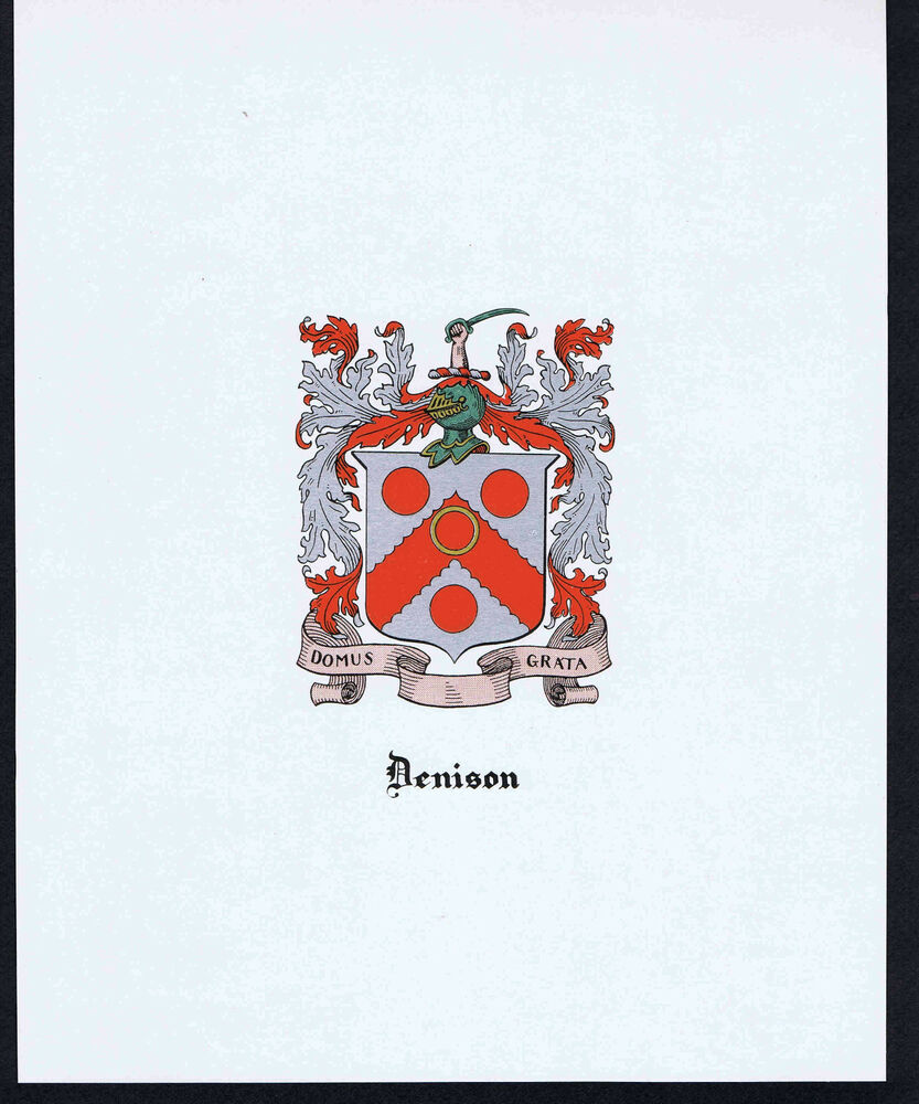 DENISON Coat of Arms & Family Crest - Vintage Print | eBay