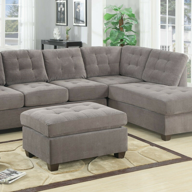 Charcoal Grey Soft Fabric Sectional Couch 2 Pc Living Room