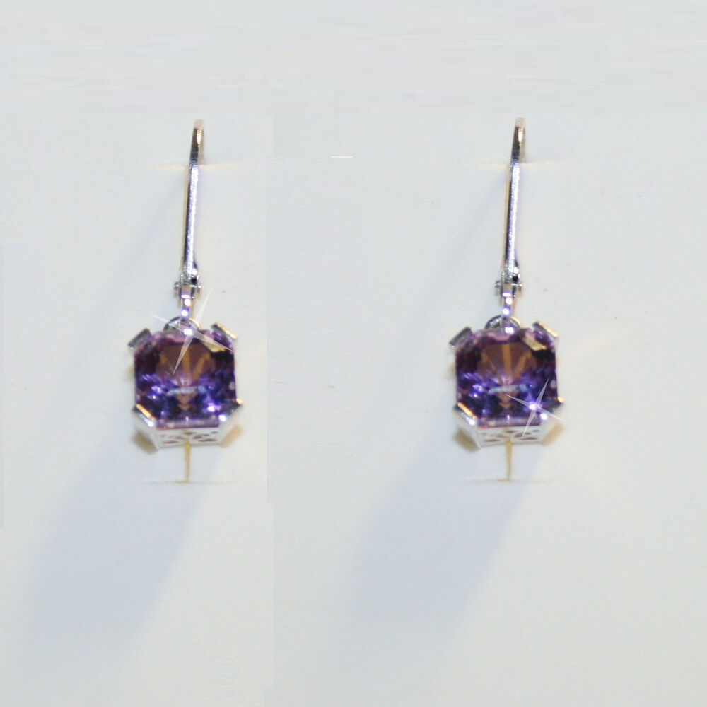 asscher purple amethyst leverback dangle earrings 14k. Black Bedroom Furniture Sets. Home Design Ideas