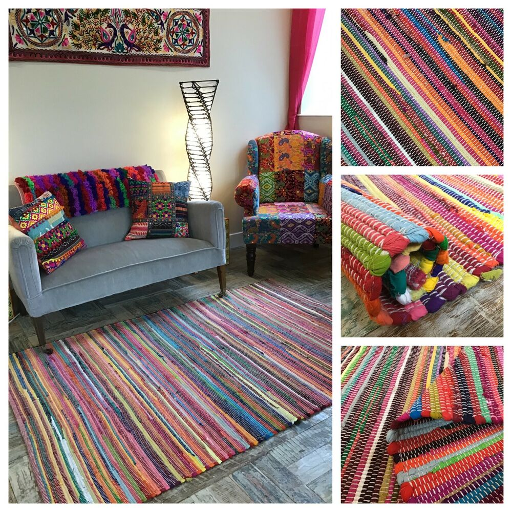 ️ Plain Recycled Rag Rug Hand Loomed Indian Bright Multi