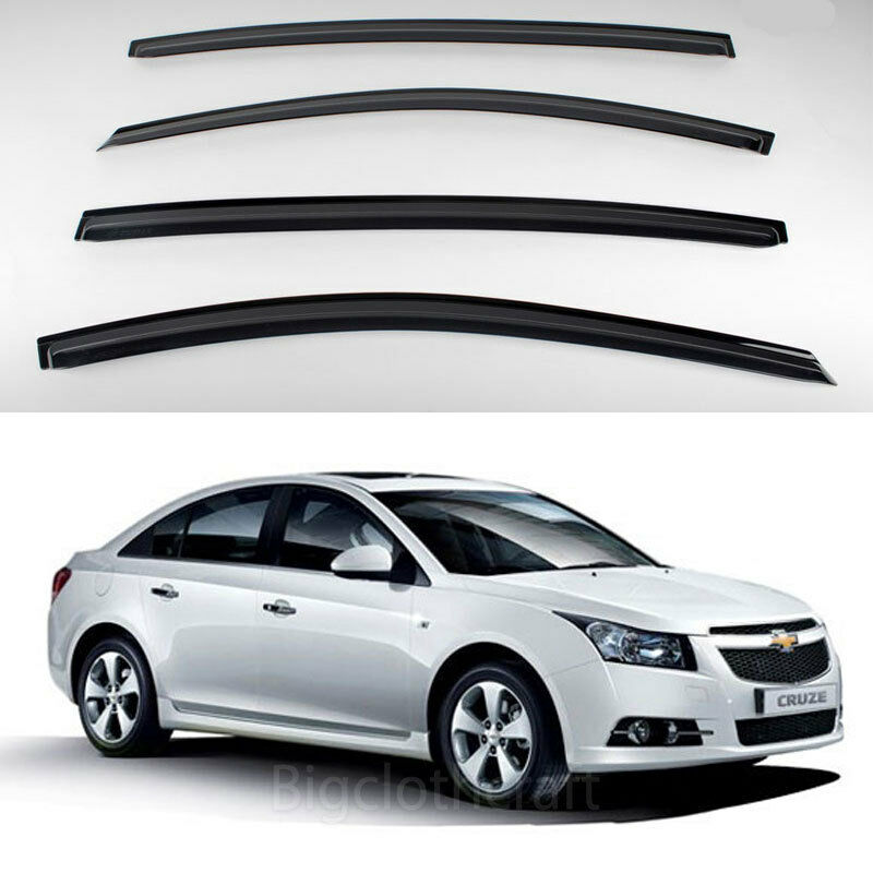 new smoke window vent visors rain guards for chevrolet cruze 4door 2011 2012 ebay. Black Bedroom Furniture Sets. Home Design Ideas